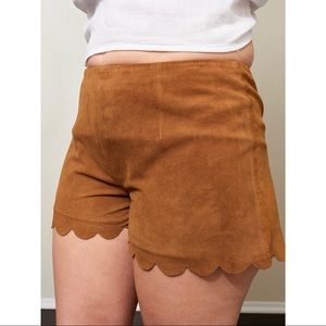Lamb and flag suede zip up shorts size 26
